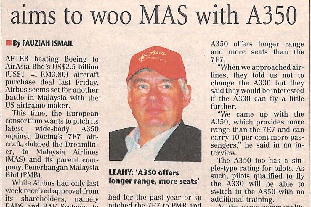 (1) After A320's success, Airbus aims to woo MAS with A350