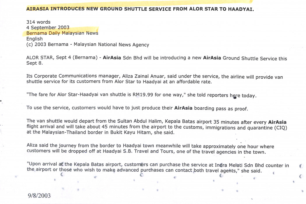(1) airasia Introduces New Ground Shuttle Service from Alor Star to Haadyai