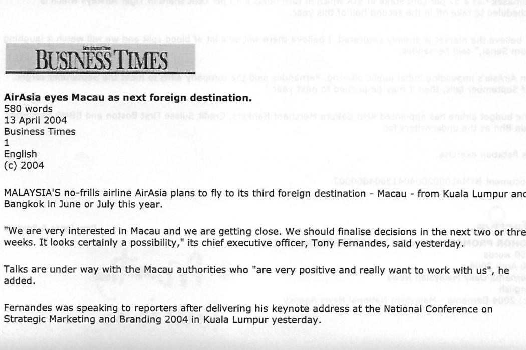 (1) airasia eyes Macau as next foreign destination