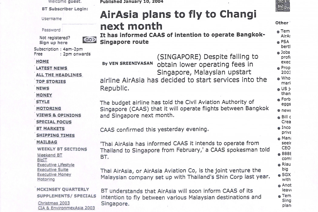 (1) airasia plans to fly to Changi next month