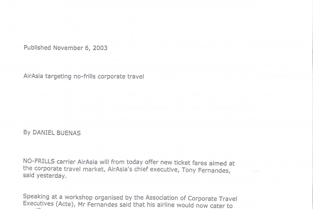 (1) airasia targetting no-frills corporate travel