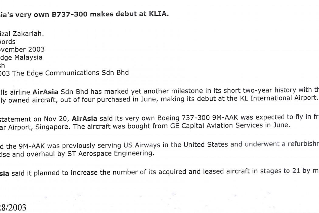 (1) airasia's very own B737-300 makes debut at KLIA