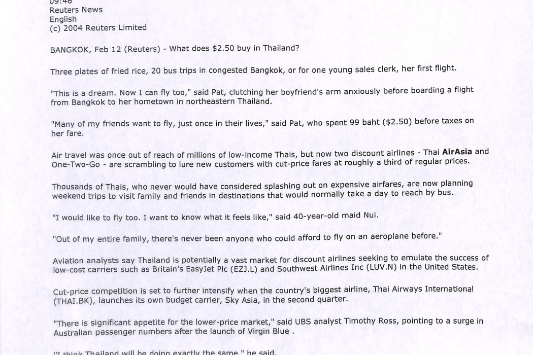 (1) Feature - Thai flyers the new jet set on budget carriers