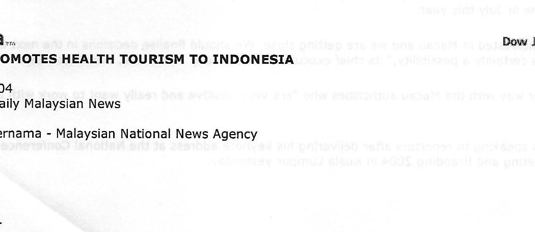 (1) Johor Promotes Health Tourism to Indonesia