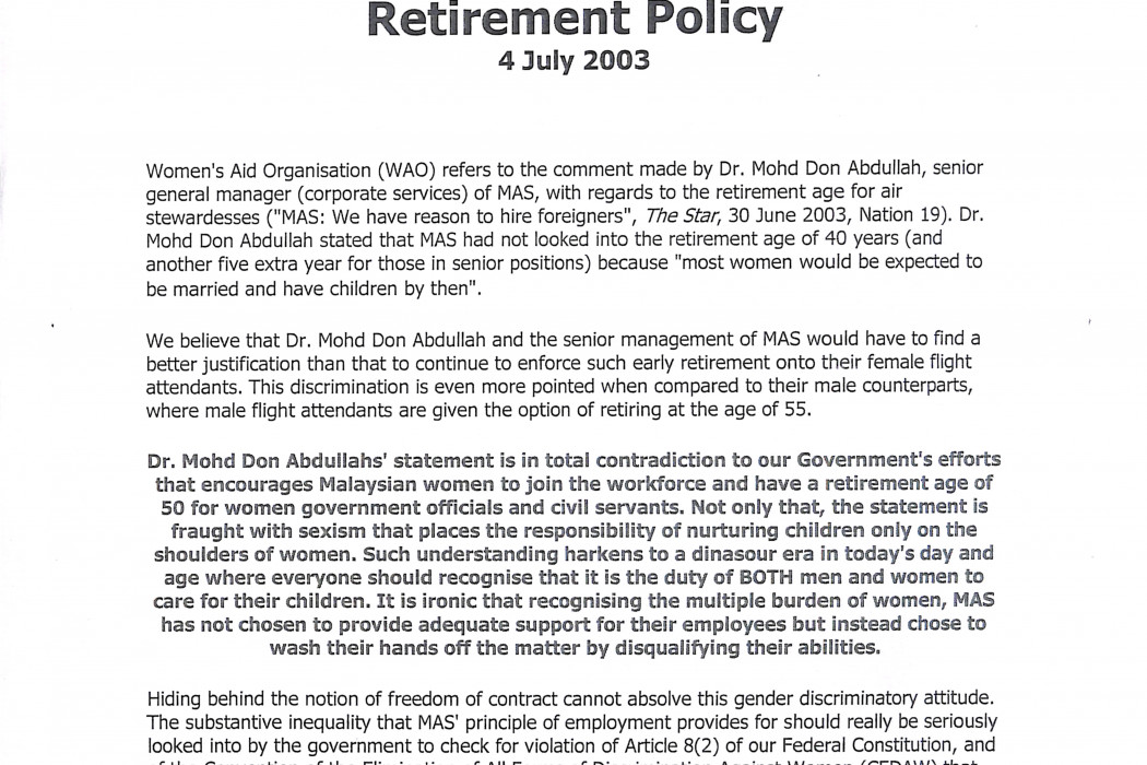 (1) Letter to the Editor; Malaysian Airlines Discriminatory Retirement Policy