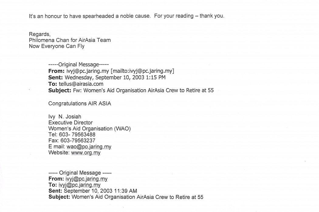 (1) Letter to the editor airasia Crew to Retire At 55