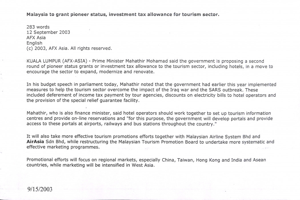 (1) Malaysia to grant pioneer status, investment tax allowance for tourism sector