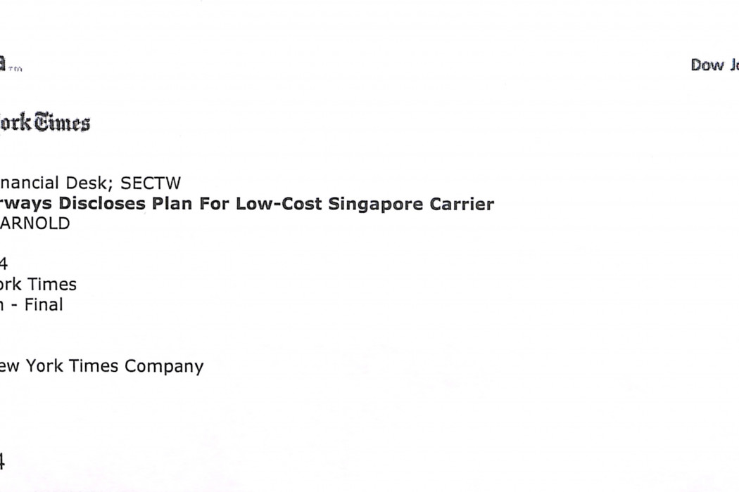 (1) Qantas Airways Discloses Plan for Low-Cost Singapore Carrier