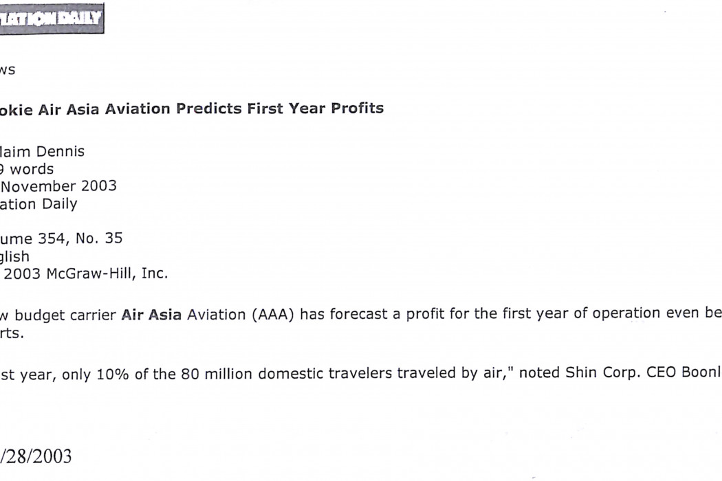 (1) Rookie Air Asia Aviation Predicts First Year Profits