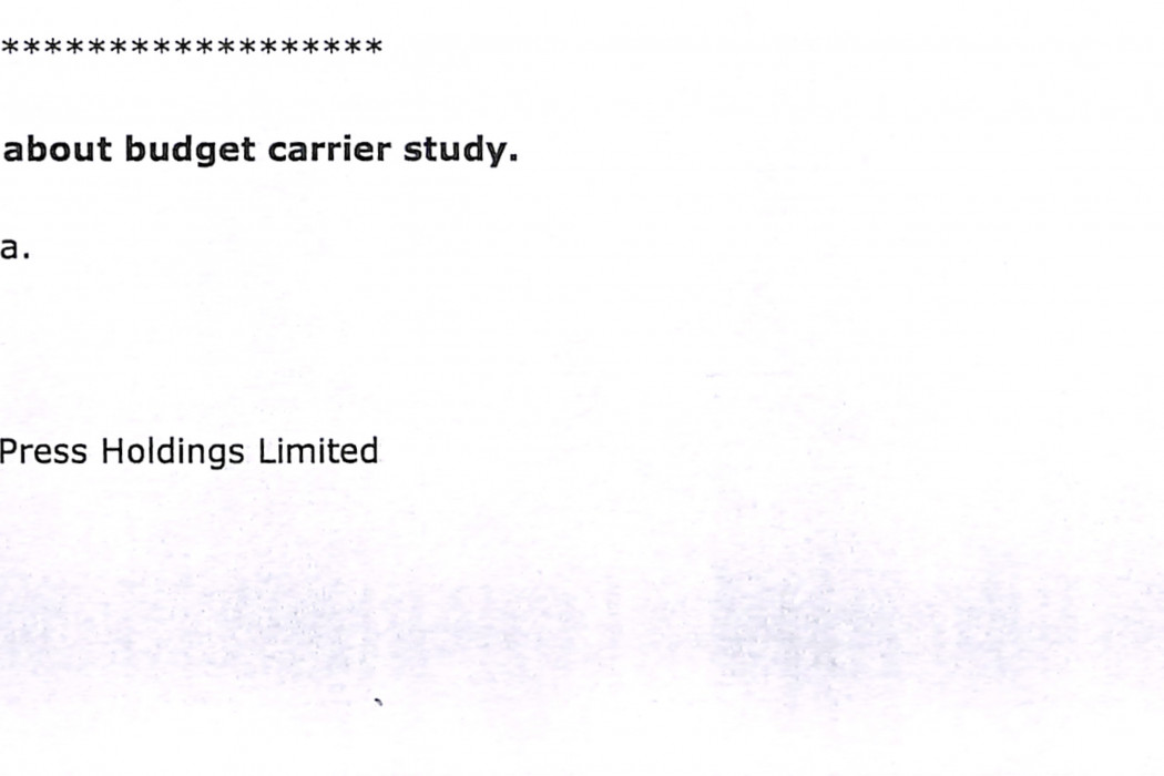 (1) SIA 'very serious' about budget carrier study.