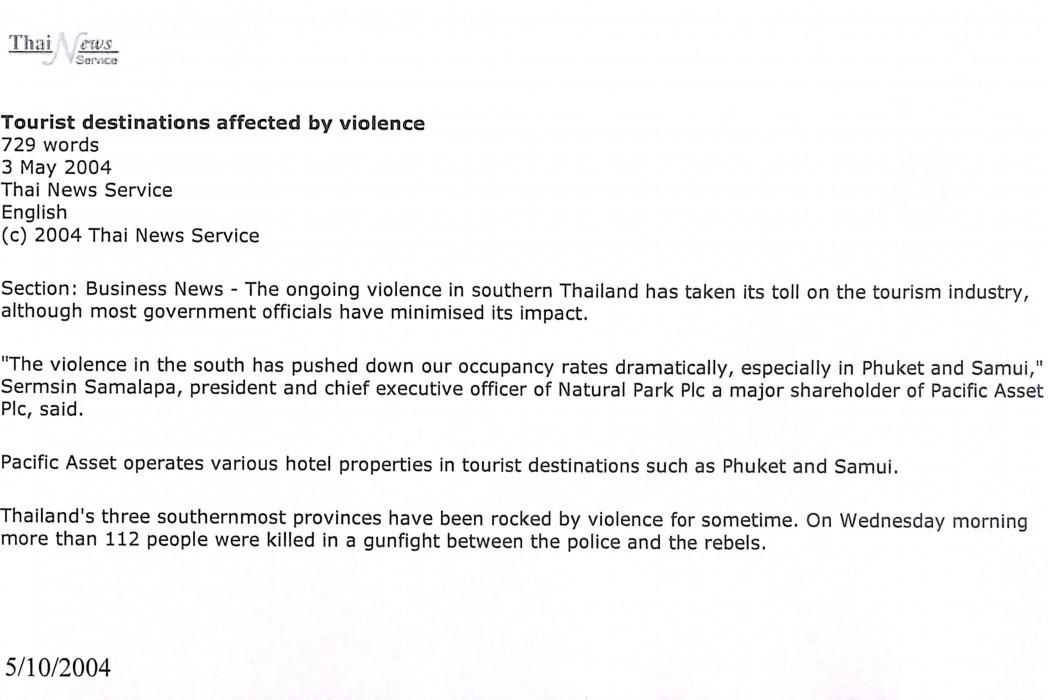 (1) Tourist destinations affected by violence