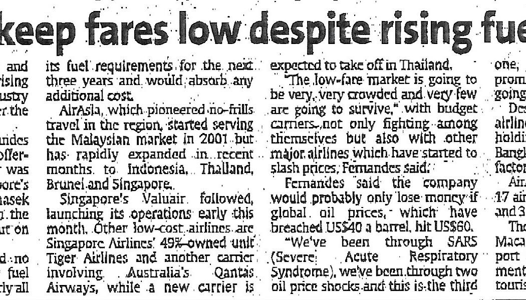 1. airasia to keep fares low despite rising fuel prices