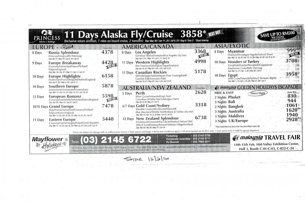 11 Days Alaska FlyCruise (MAS)
