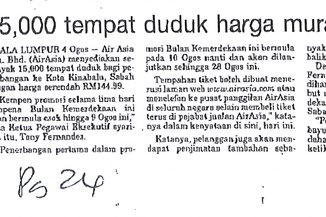15,000 tempat duduk harga murah ke Sabah