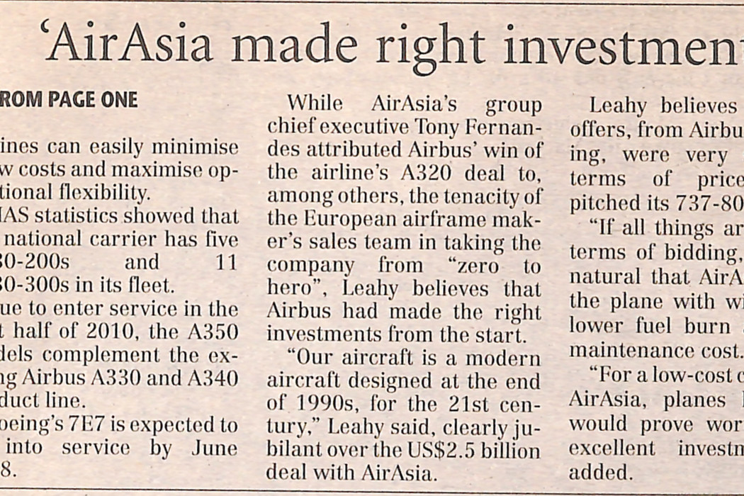 (2) After A320's success, Airbus aims to woo MAS with A350