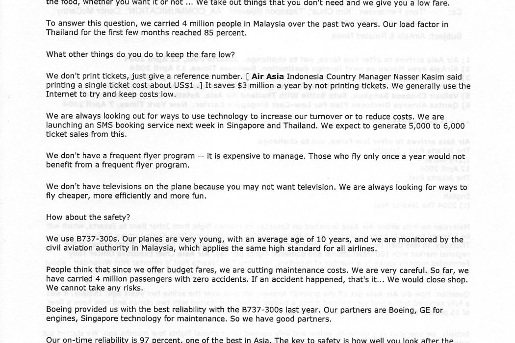 (2) Air Asia arrives to offer low fares, not to challenge