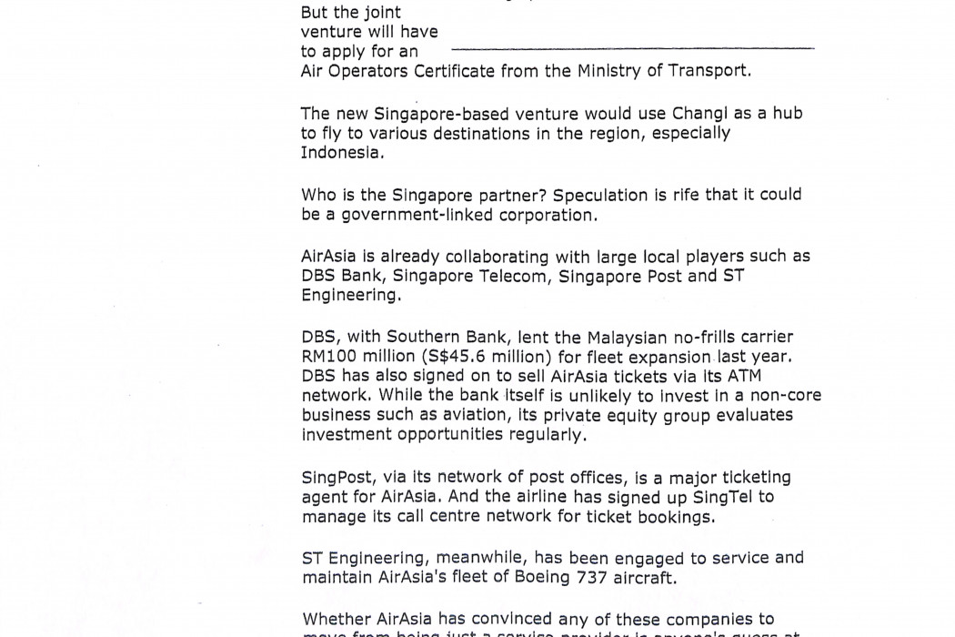 (2) airasia plans to fly to Changi next month