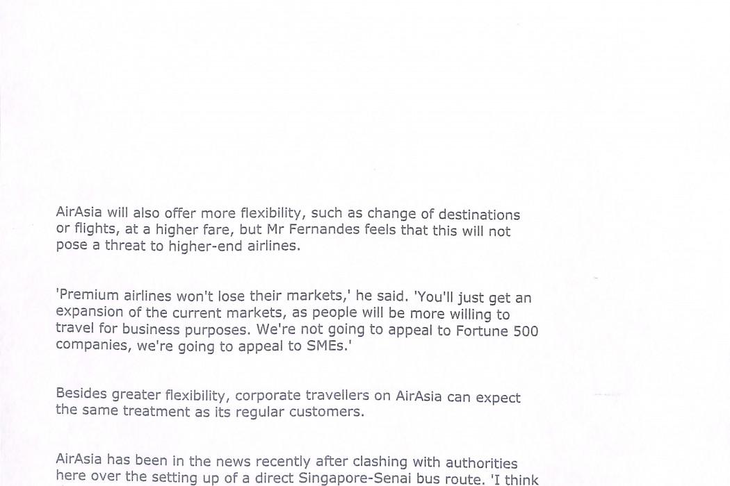 (2) airasia targetting no-frills corporate travel