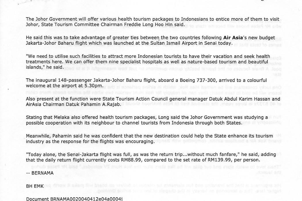 (2) Johor Promotes Health Tourism to Indonesia