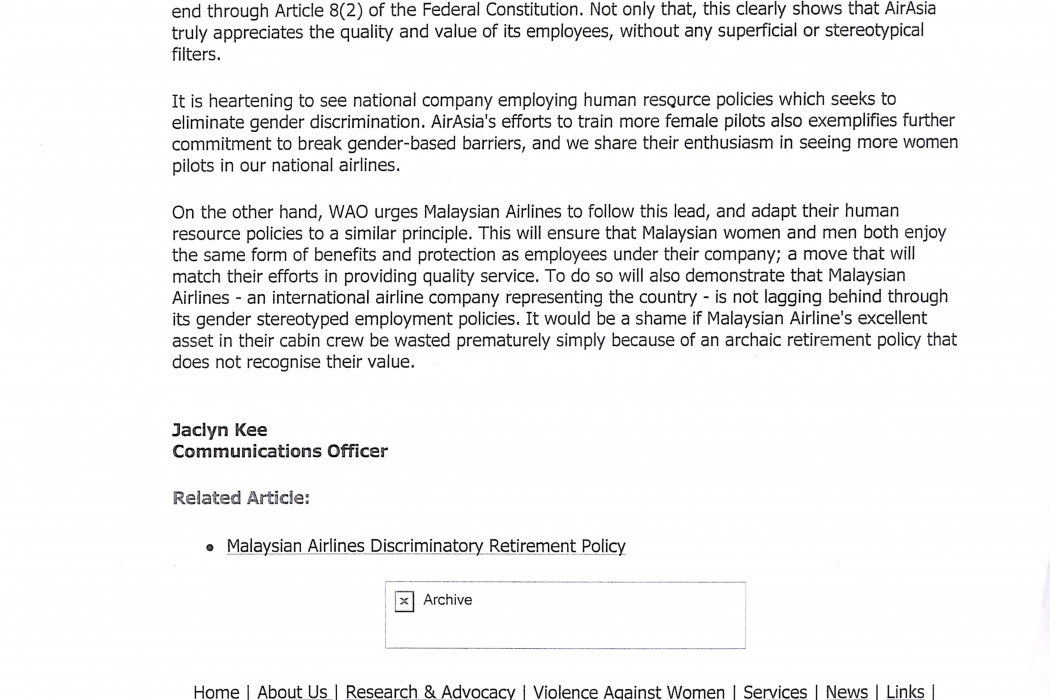(2) Letter to the editor airasia Crew to Retire At 55