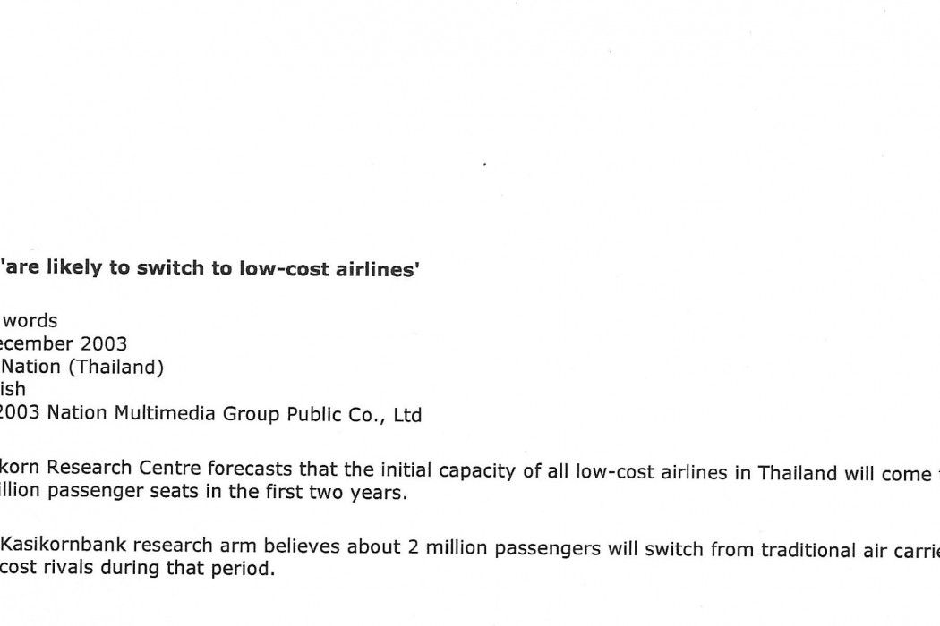 2m are likely to switch to low-cost airlines