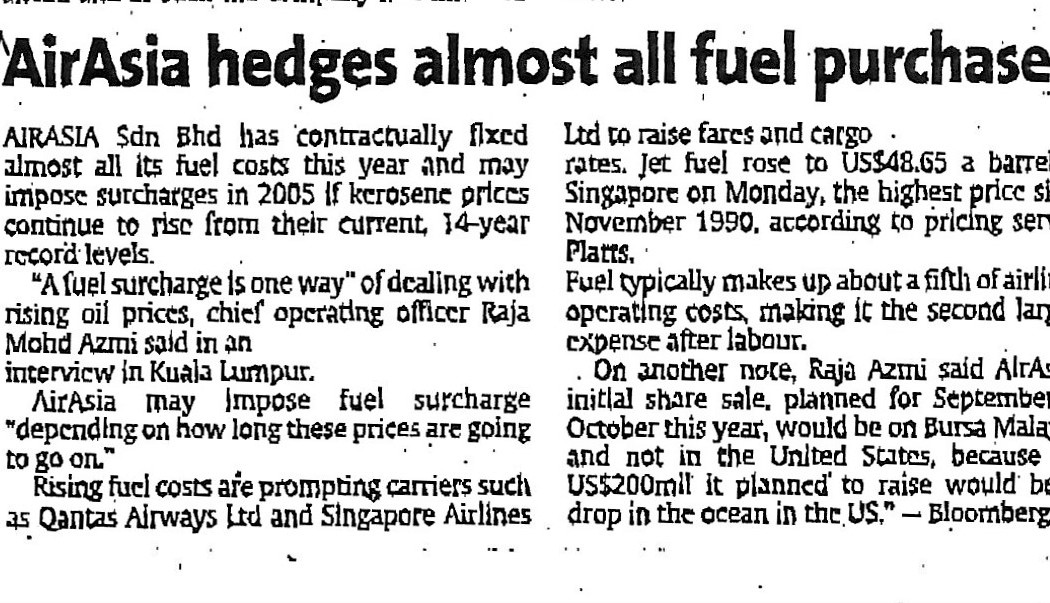 3. airasia hedges almost all fuel purchases