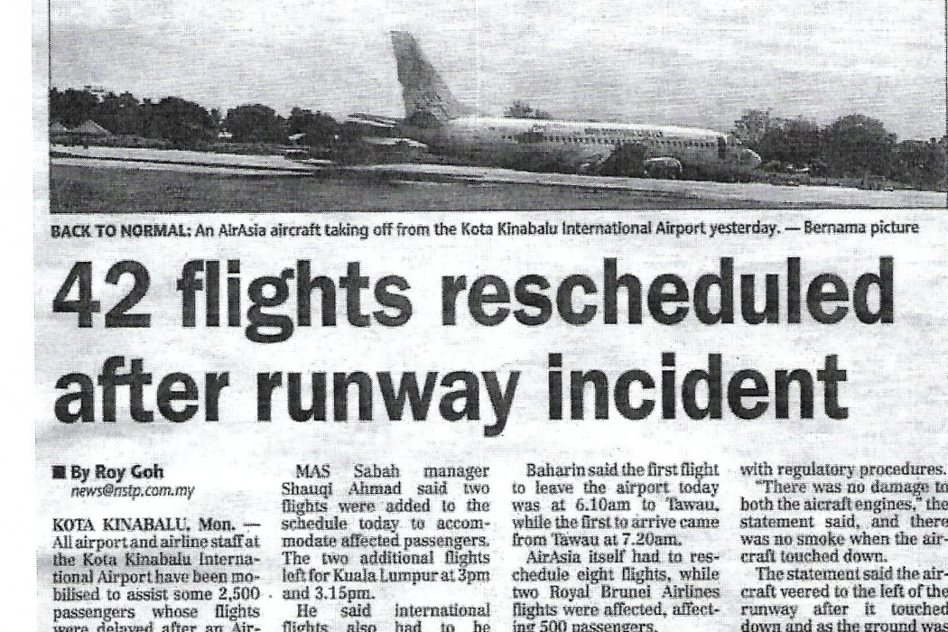 42 flights rescheduled after runway incident