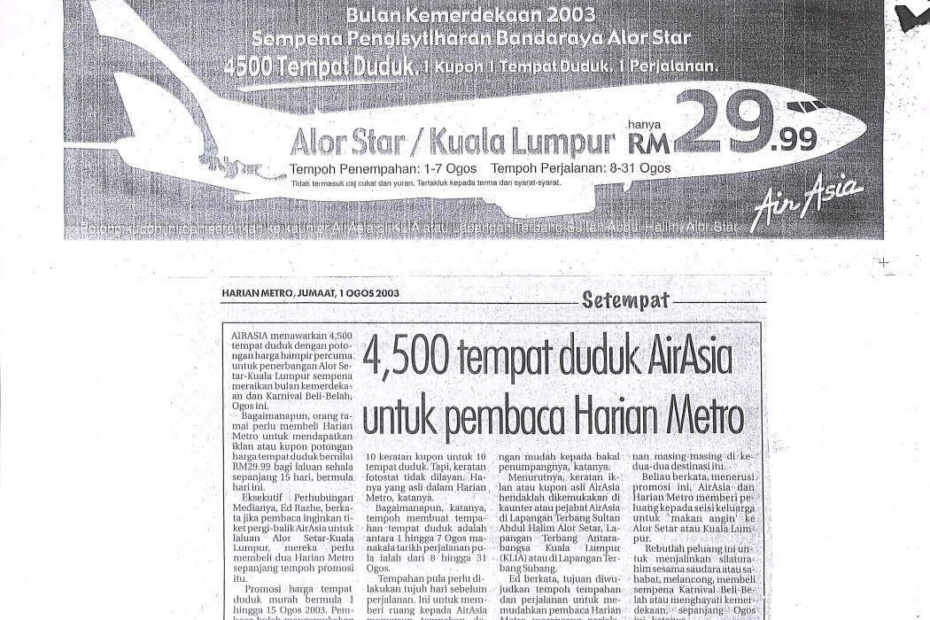 4,500 tempat duduk airasia untuk pembaca Harian Metro