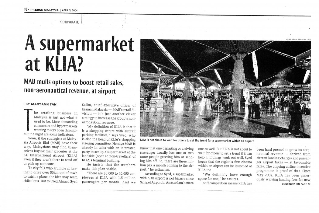 A supermarket at KLIA