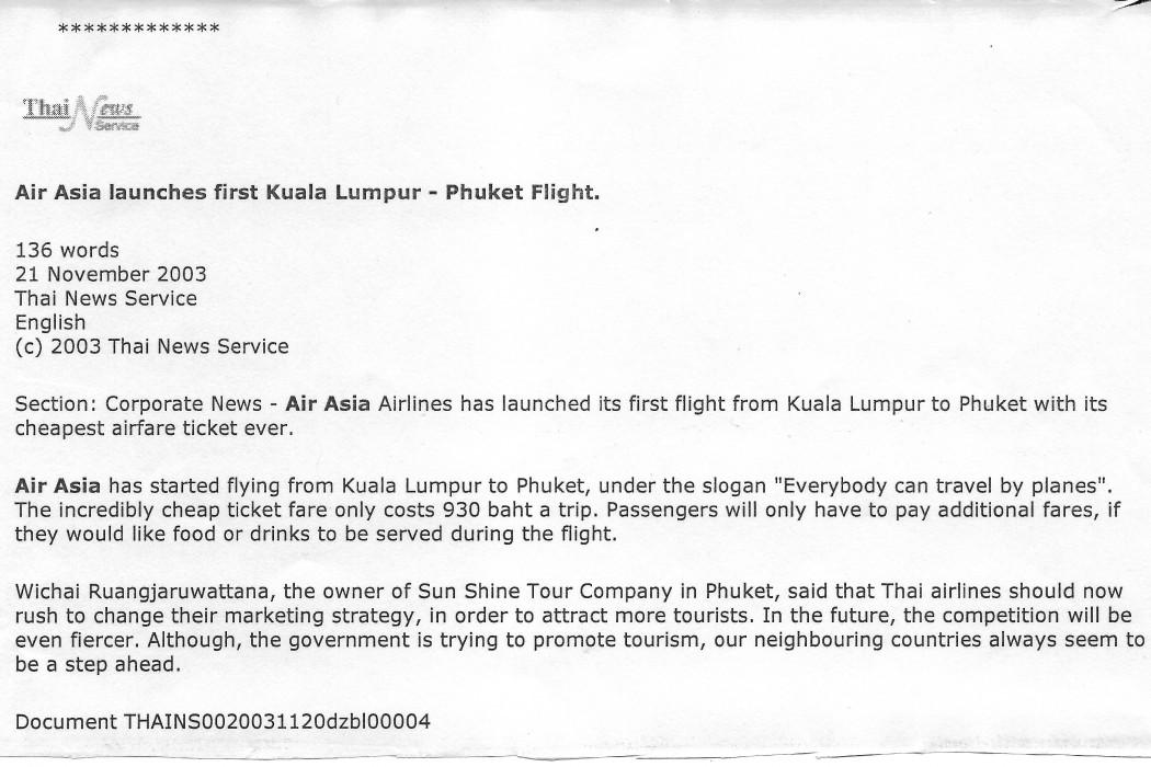 Air Asia launches first Kuala Lumpur - Phuket flight