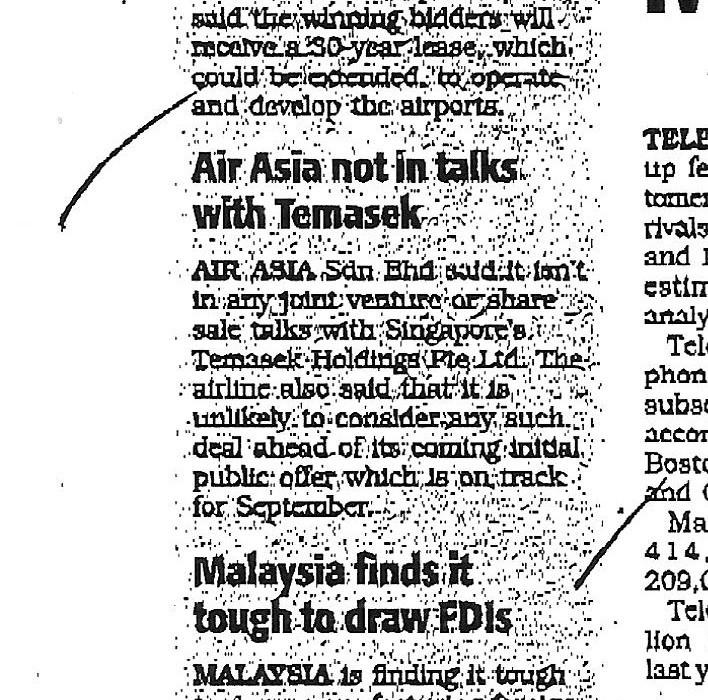 Air Asia not in talks with Temasek