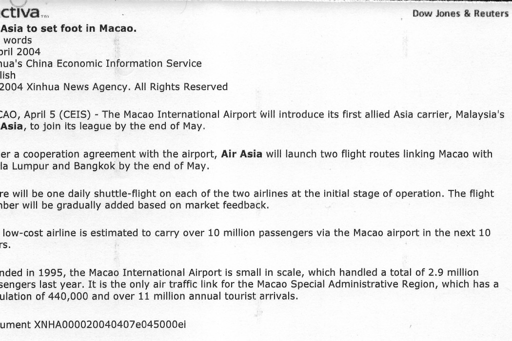 Air Asia to set foot in Macao