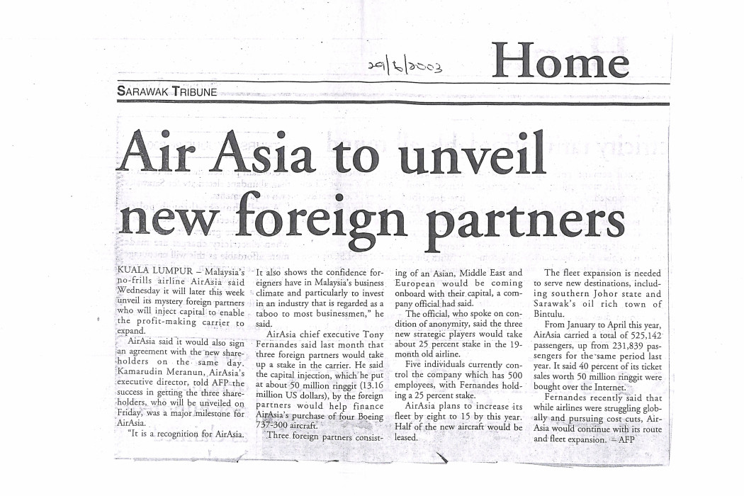 Air Asia to unveil new foreign partners