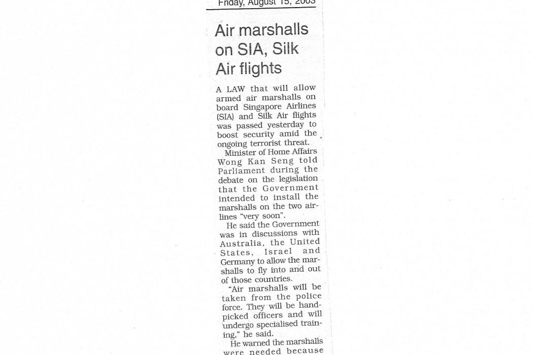 Air marshalls on SIA, Silk Air flights