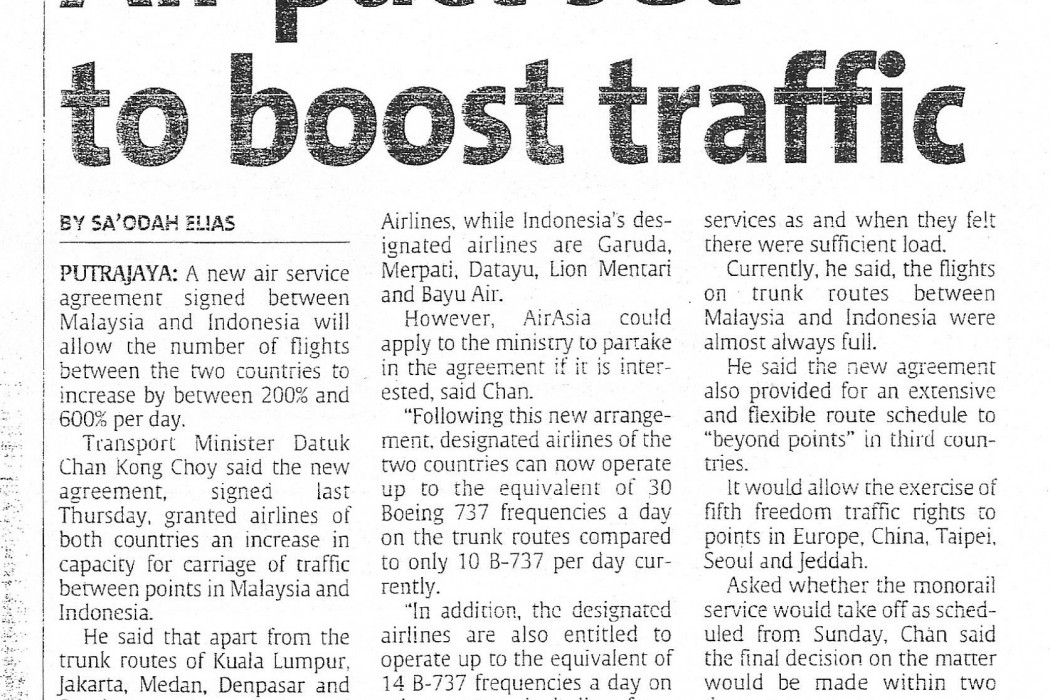 Air pact set to boost traffic