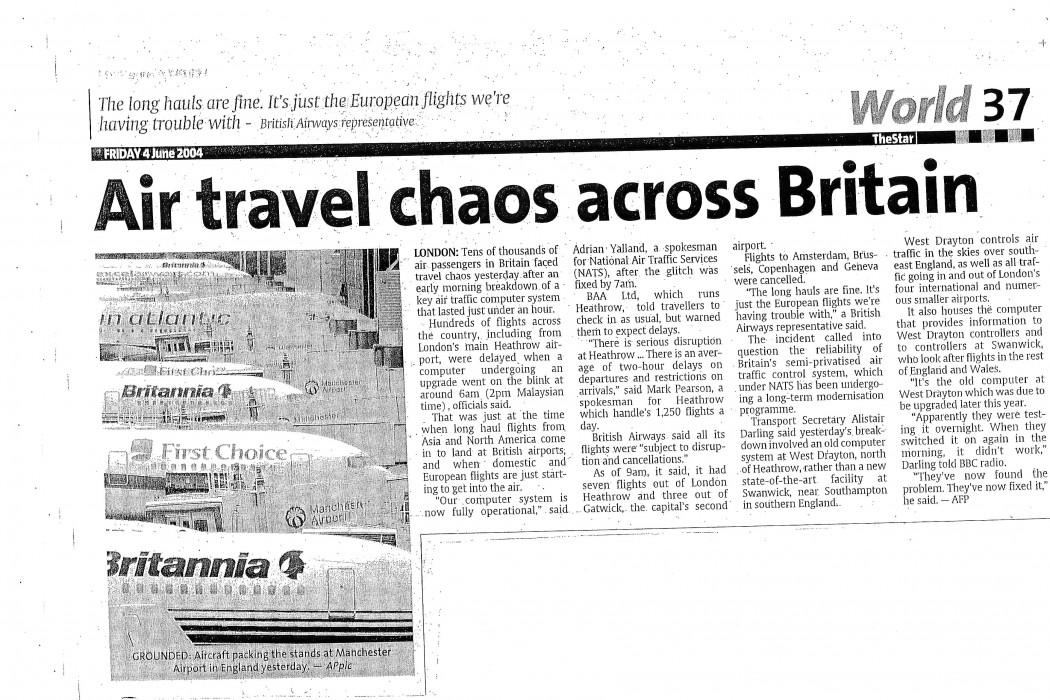 Air travel chaos across Britain