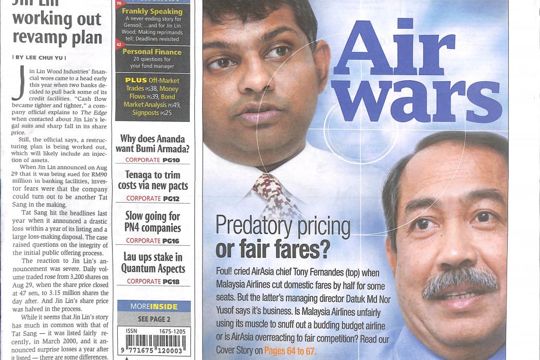 Air wars Predatory pricing or fair shares - 01