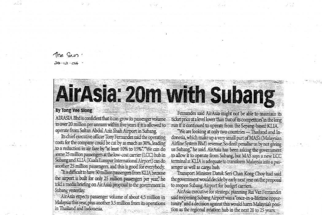 airasia 20m with Subang