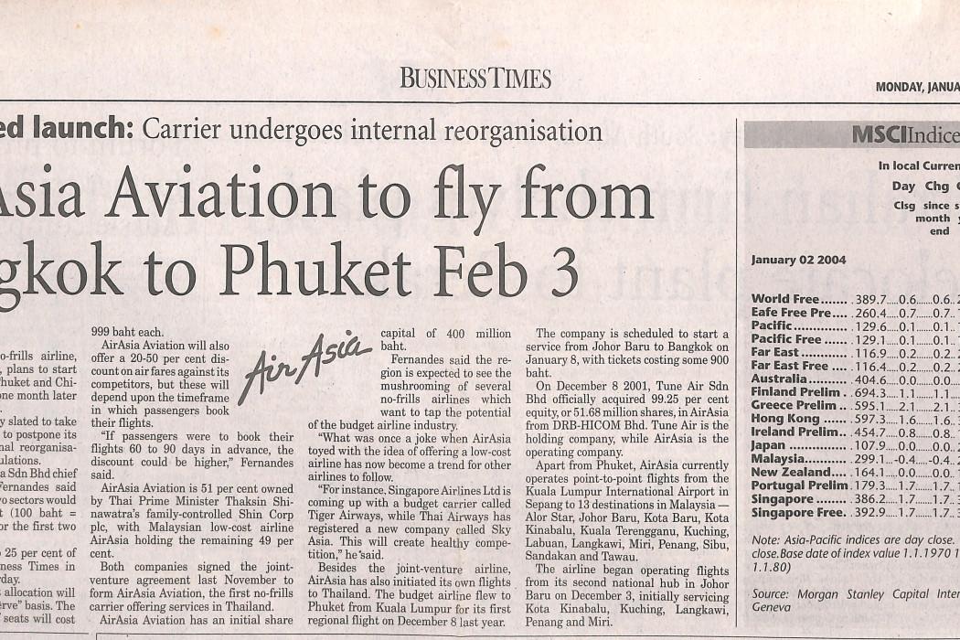 airasia Aviation to fly from Bangkok to Phuket Feb 3