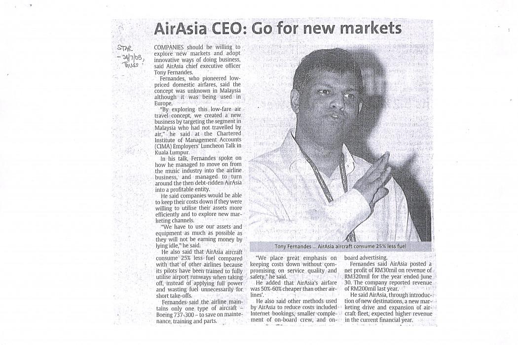airasia CEO Go for new markets