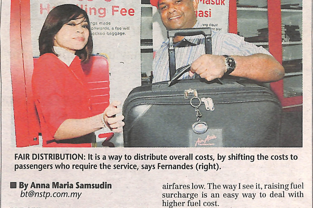 airasia Fee on checked baggage to offset fuel costs