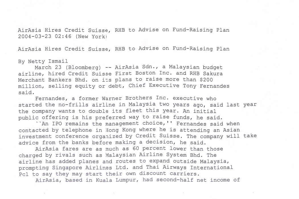 airasia Hires Credit Suisse, RHB to Advise on Fund-Raising Plan (1)