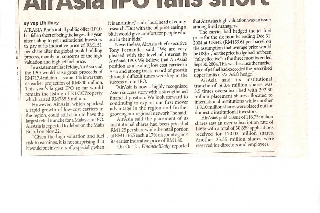 airasia IPO falls short