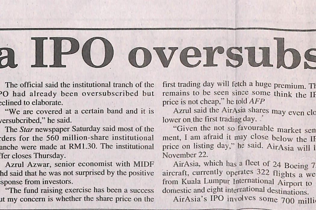 airasia IPO oversubscribed