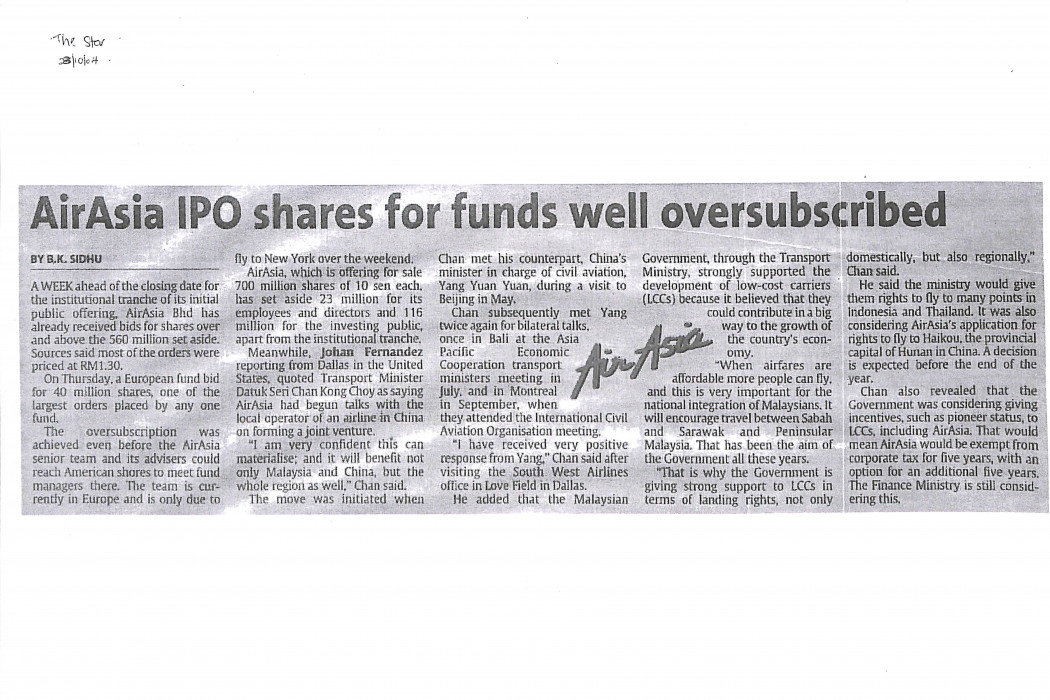 airasia IPO shares for funds well oversubscribed
