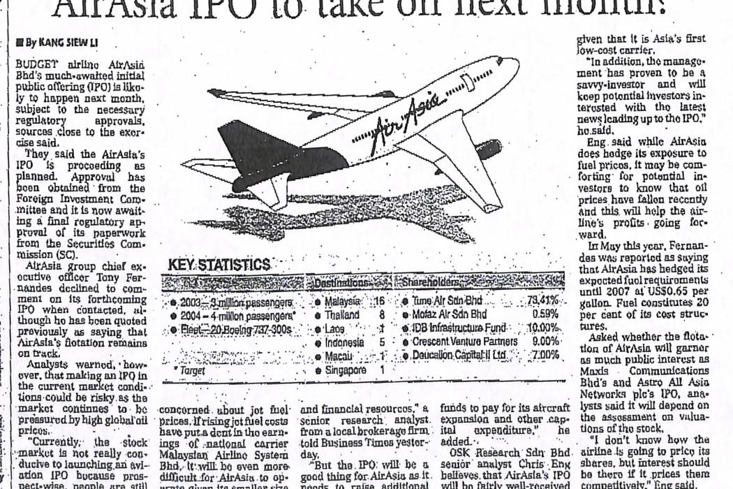 airasia IPO to take off next month