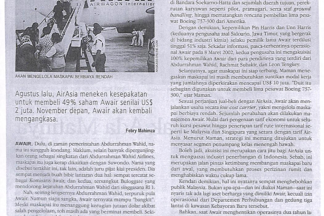 airasia Mengakuisisi Awair Awair Terbang Lagi