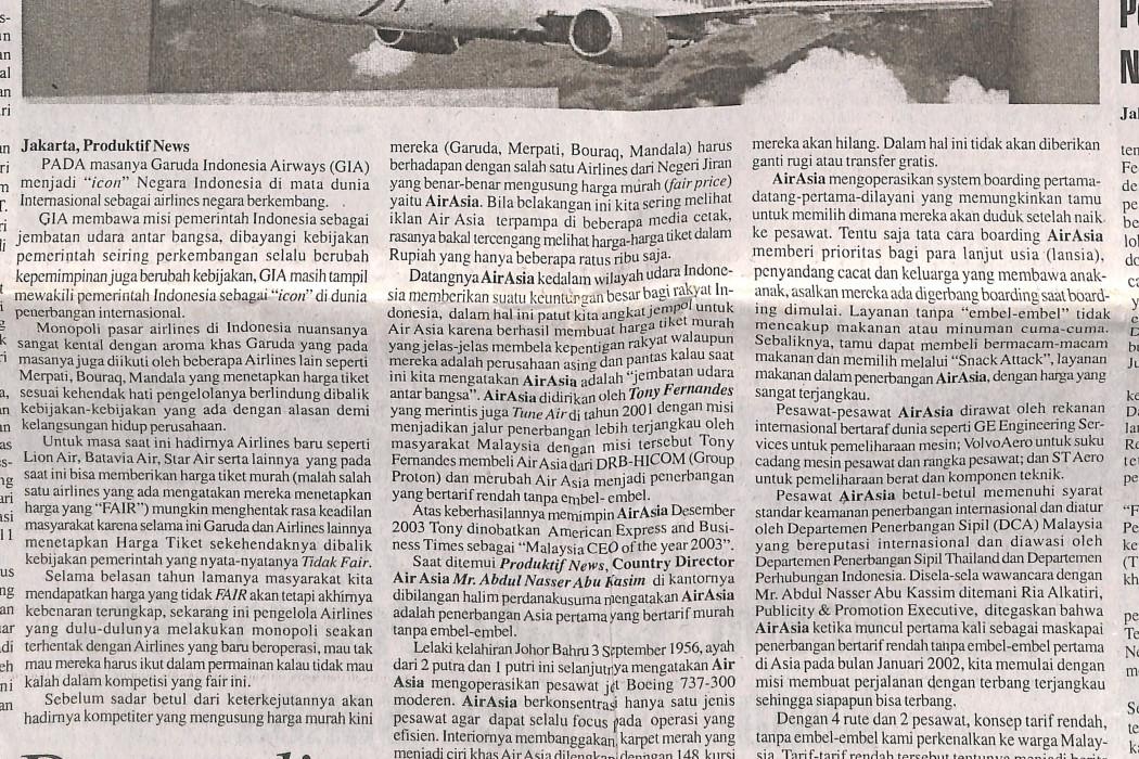 airasia Penerbangan Bertarif Murah Bela Kepentingan Rakyat