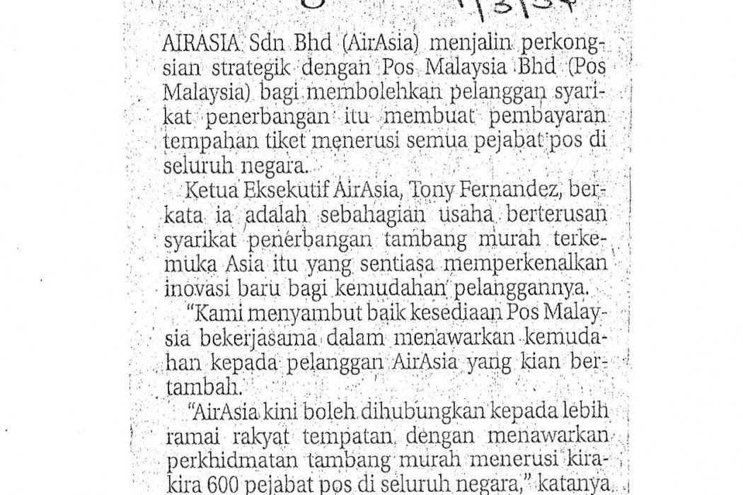 airasia, Pos Malaysia jalin perkongsian strategik