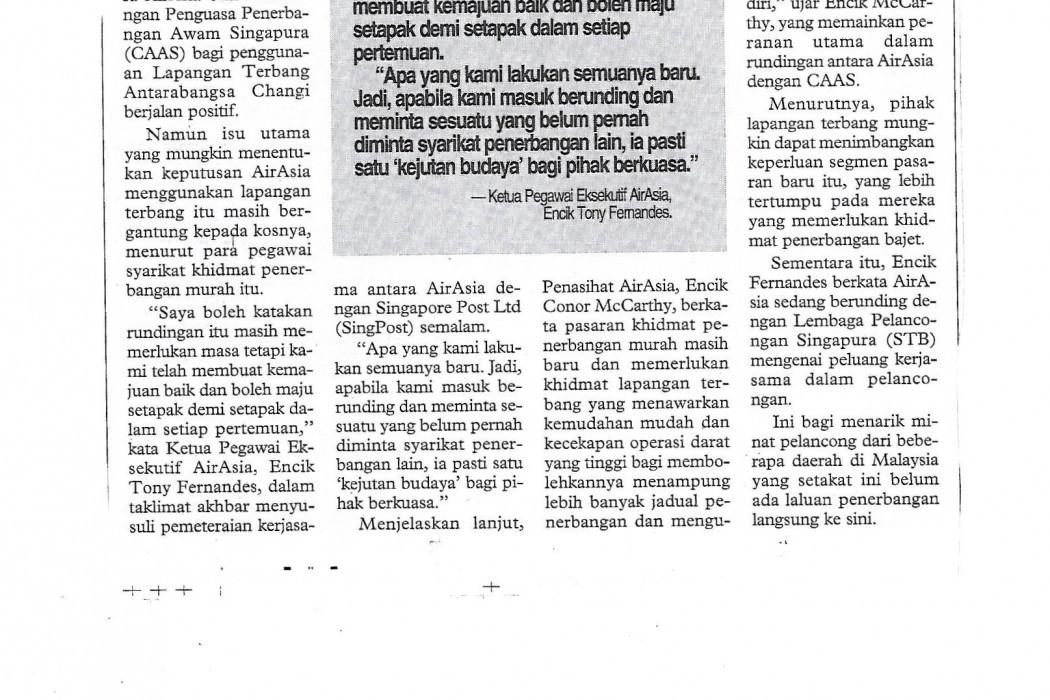 airasia Rundingan dengan CAAS berjalan positif